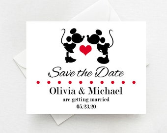 Mickey and Minnie Save the Date Magnets, Disney Save the Dates, Mickey and Minnie Weddings - Envelopes Included