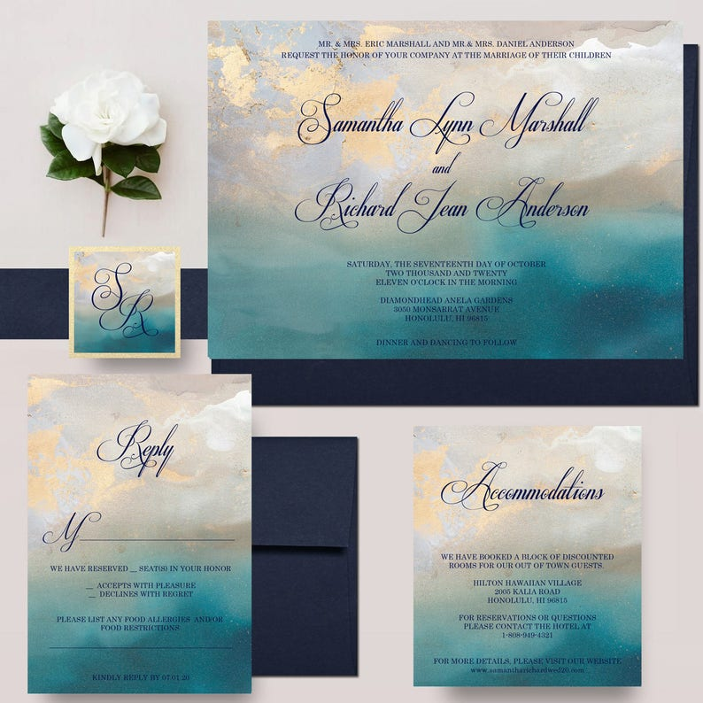 ff0be68e8dda Beach Wedding Invitations Gold and Turquoise Marble Invites