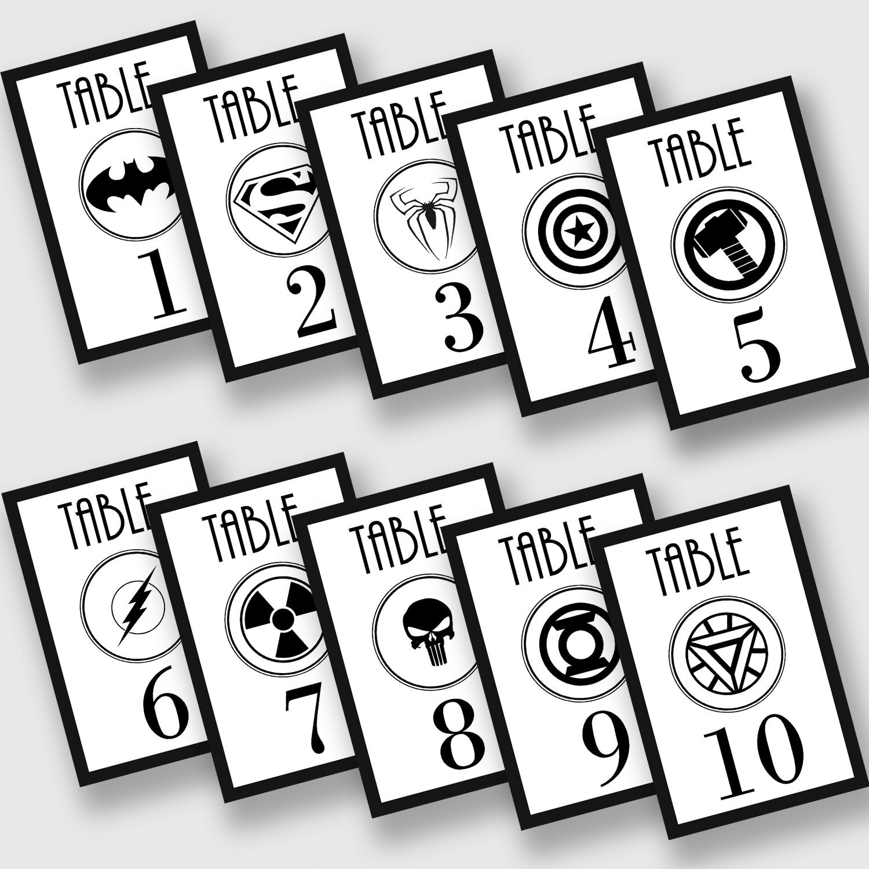 Superhero Logo Table Numbers Wedding Table Cards Marvel