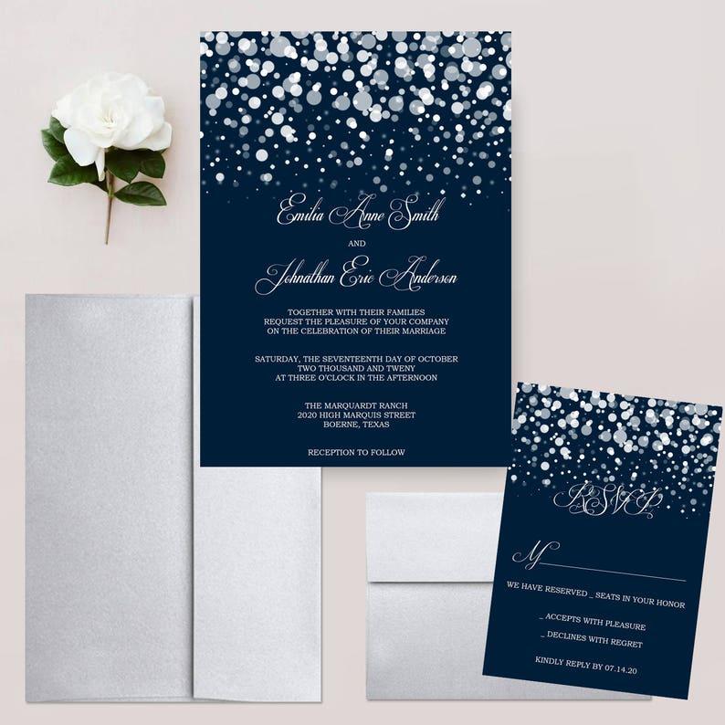 b056fa788d349 Starry Night Wedding Invitations, Glitter Snowfall, Twinkling Stars, Navy  Blue Invites, Polka Dot, Winter Wedding Invitation Set - DEPOSIT