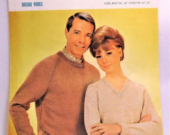 3656839d346 Original Vintage Orchard His   Hers Sweaters Knitting Pattern Bust 38 42