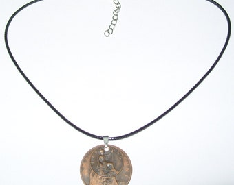 """Black Waxed Cord British 1917 Penny  & Farthing Necklace17"""" 43cm With Extension Chain"""