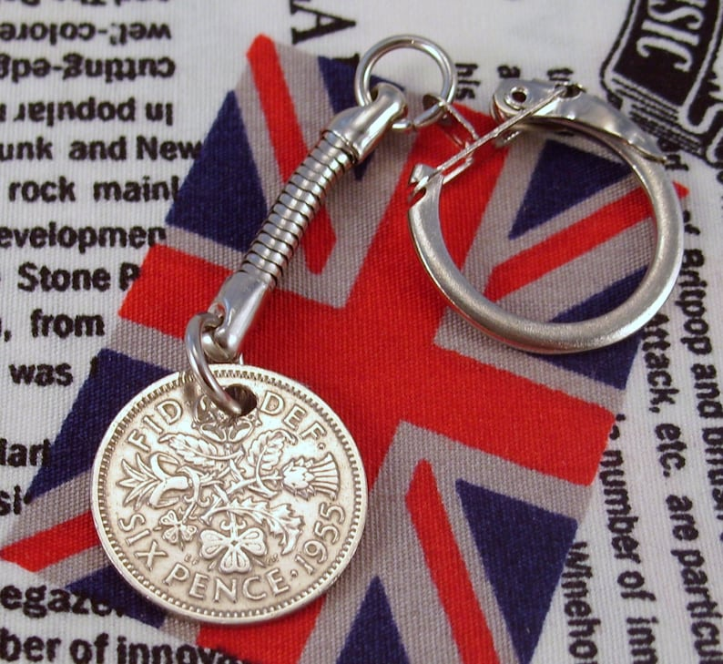 Elizabeth II Lucky Charm Sixpence Keyring With Gift Bag 1953 To 1967 Choose Date