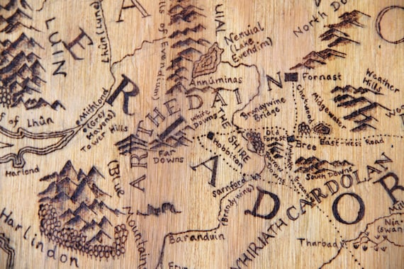Woodburned Map of Middle Earth - wooden signs, map art, lotr, lord of the  rings, wedding gift, custom wood signs, wood wall art, wood signs