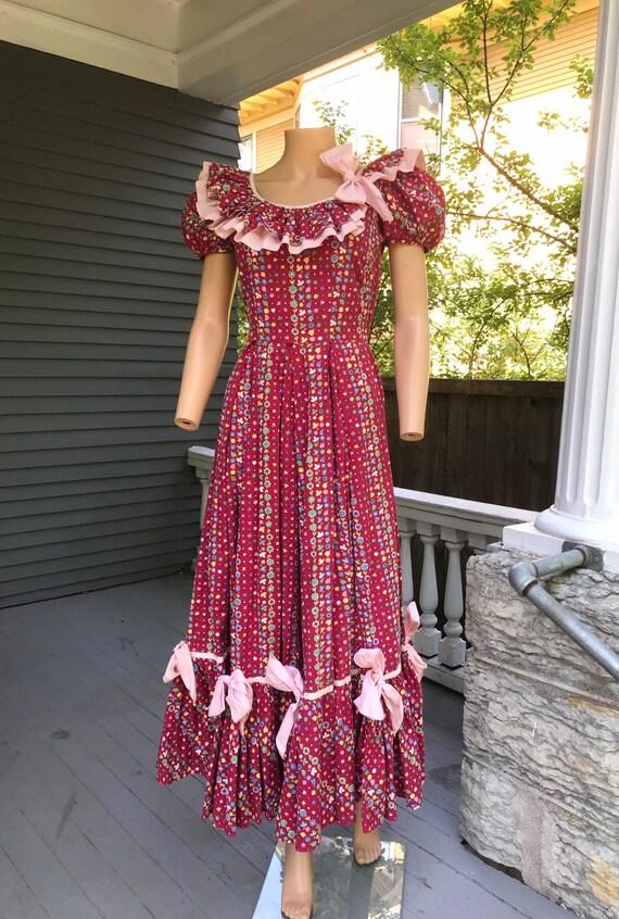 1940's Cotton Calico Hootenanny Dress sz S - image 5