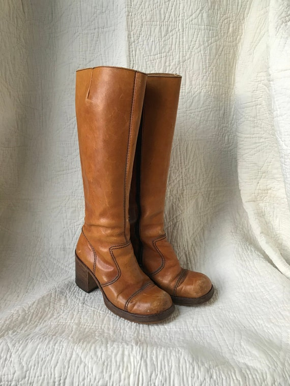 1970's Leather Platform Chunky Heel Boots sz 8
