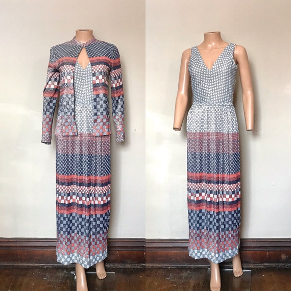 1970's Anne Fogarty Lurex Maxi Dress & Jacket sz M