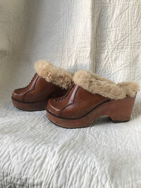 1970's Shearling Lined Leather & Wood Platform Clo