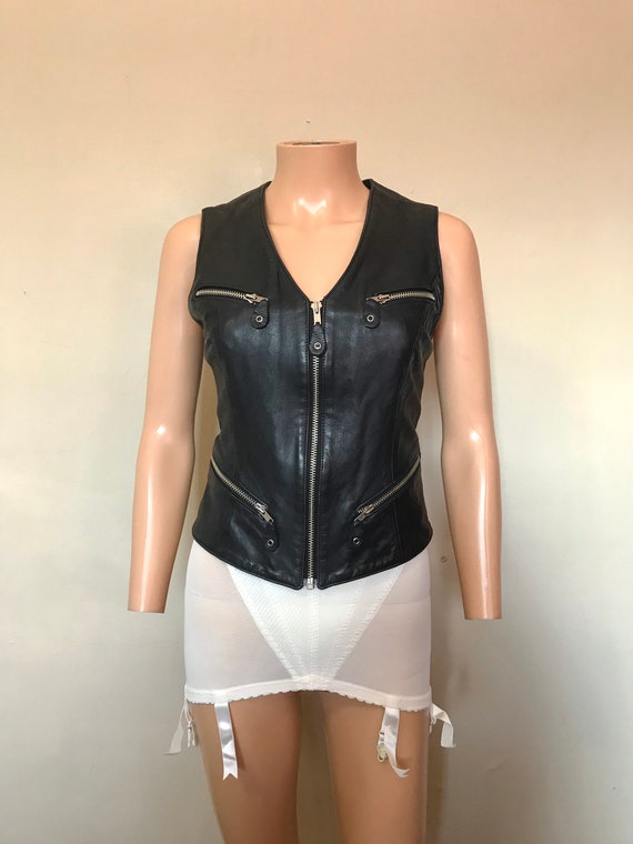 1960's Fitted Leather Zip-up Easy Rider Vest sz S/