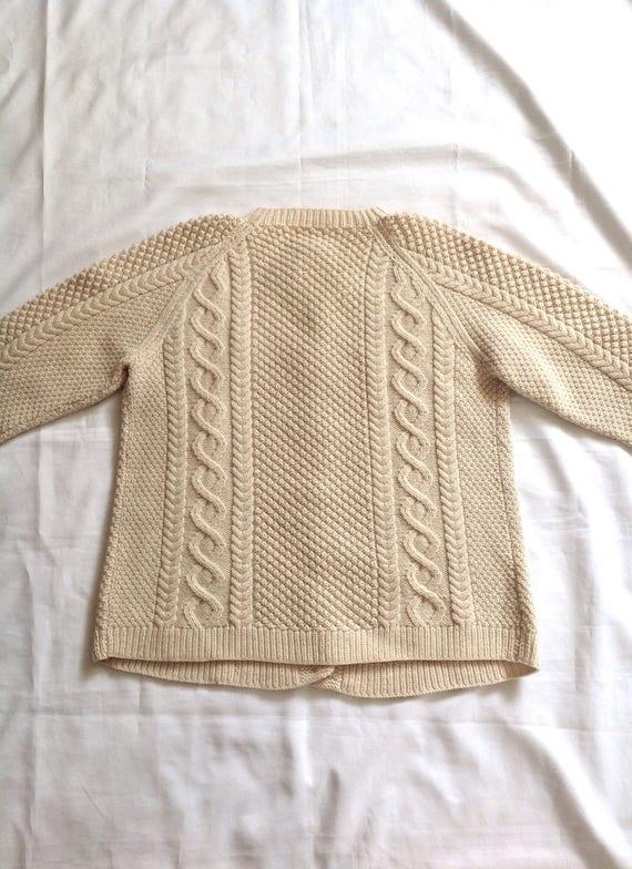 1960 ' s XXL crème laine crème XXL câble tricot Cardigan unisexe cd095a