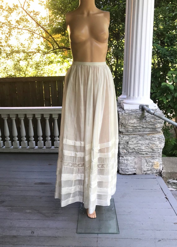 Antique Edwardian Tiered Silk Full Length Petticoa