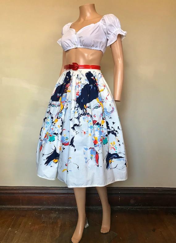 "1980's Fancy Lady Novelty Print Skirt 26""w"