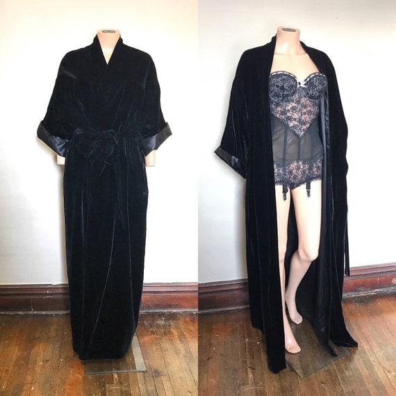 1960's Don Loper Black Velvet Robe XL/2XL