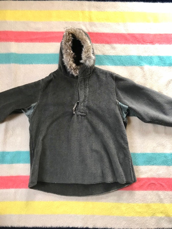 Rare 1940's WW2 Pull-over Parka Fur Lined Hood 19… - image 3