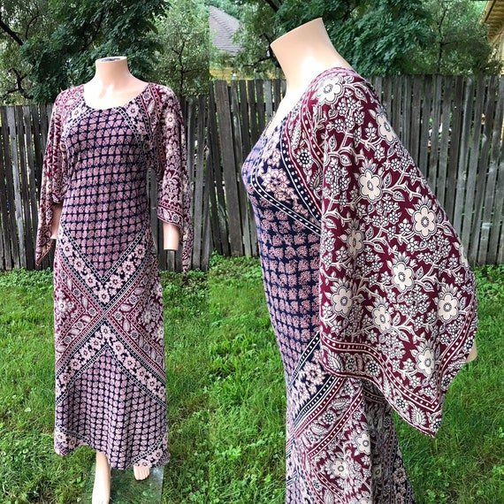 1970's Block Print Bias-cut Cotton Dress