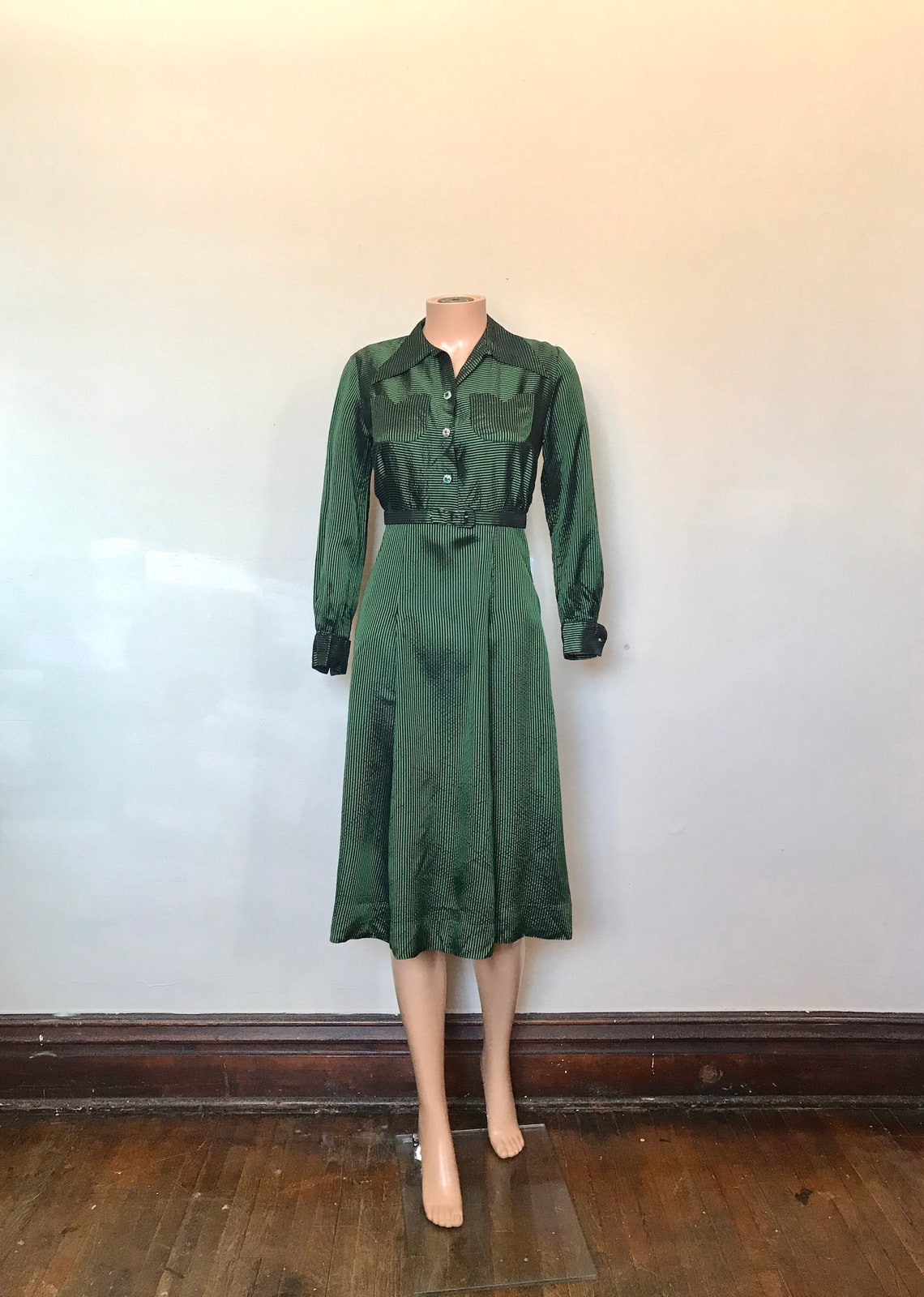 1930s Green & Black Pinstriped Satin Dress sz S