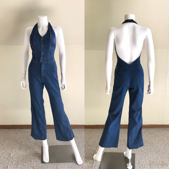 1970's Denim Halter Jumpsuit by Male sz S