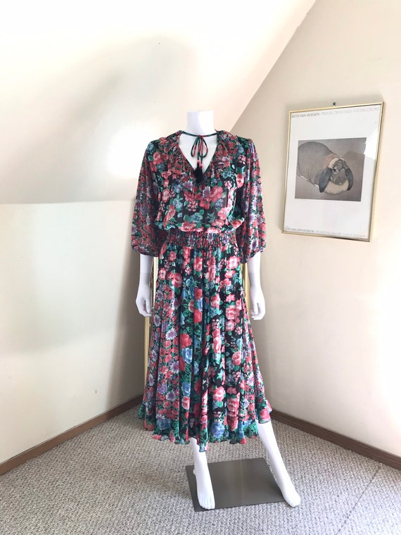 1980's Diane Fres Sheer Floral Georgette Dress sz