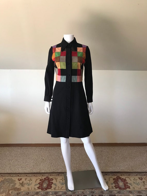 1970's Patchwork Suede Double Knit Sweater Dress s