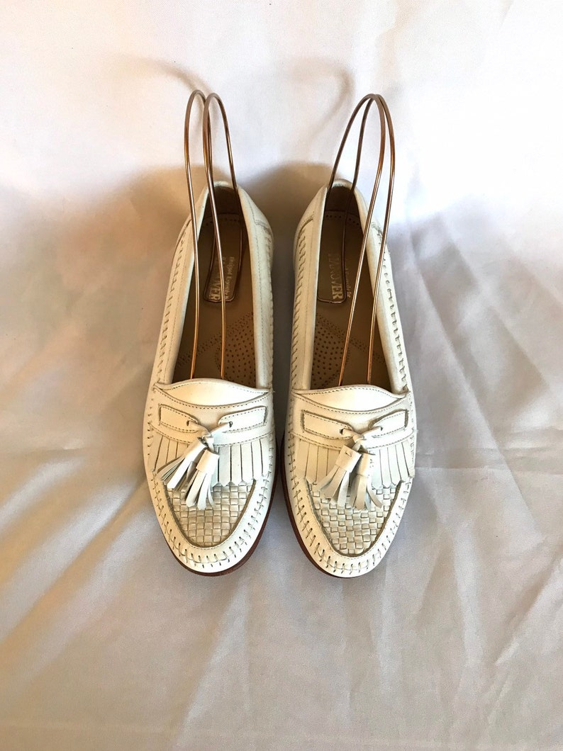 1980/'s Hanover White Leather Loafers Women/'s sz 8