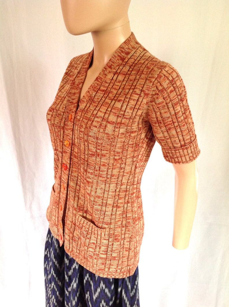 1970/'s Acrylic Knit Short-sleeved Button-up Cardigan ML