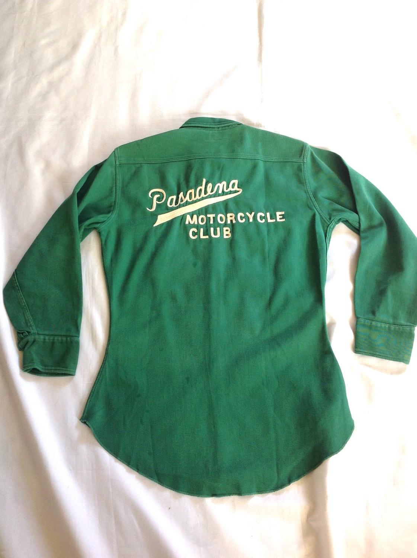 1950 Club ' s Pasadena Moto Club 1950 Heavyweight Gabardine chemise Sz. M 72e120