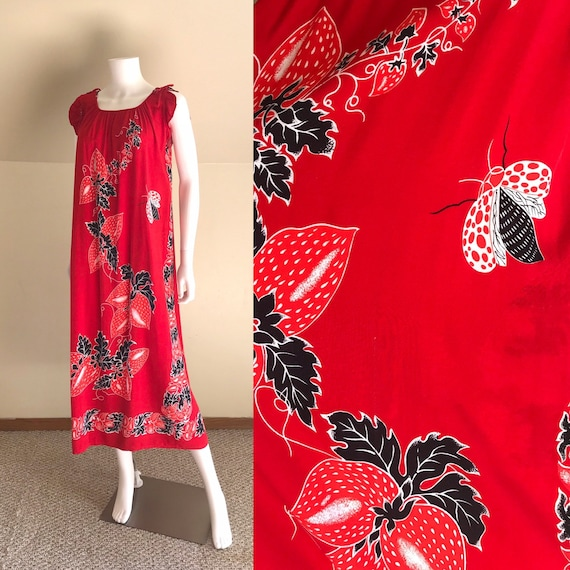 Rayon Batik Strawberry & Bug Print MuuMuu Dress sz