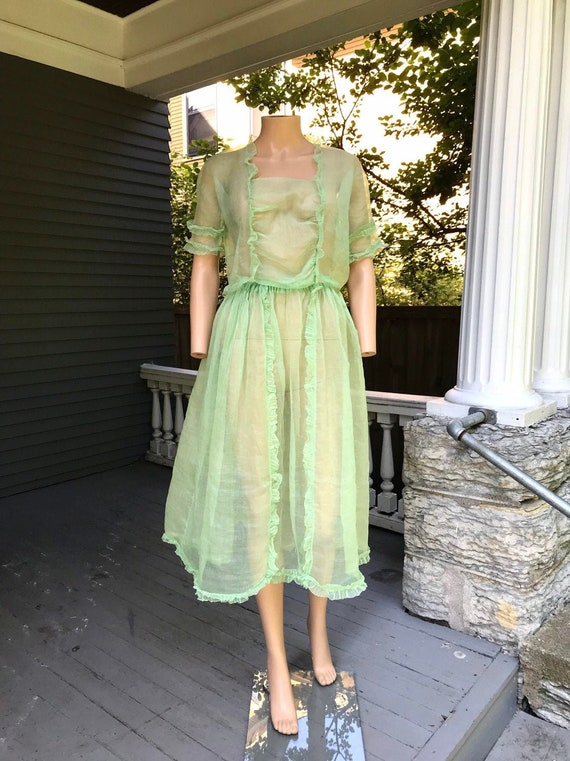1910's Edwardian Green Faerie Organza 2pc S/M