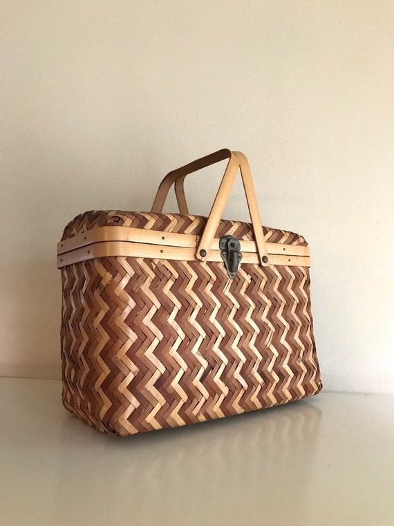 1940's Japanese Rattan Basket Box Purse