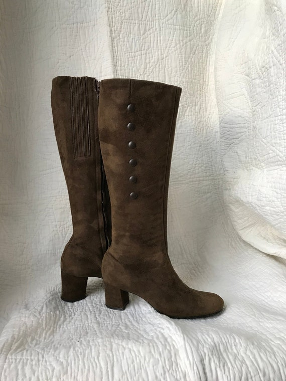 1960's Chocolate Suede Zip-up Go-go Boots sz 4