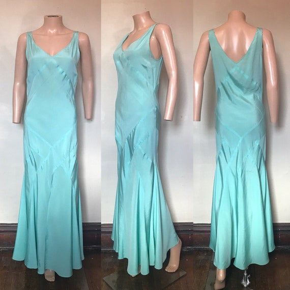 1930's Bias-cut Robin's Egg Blue Rayon Gown sz M a