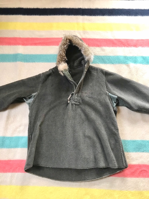Rare 1940's WW2 Pull-over Parka Fur Lined Hood 194
