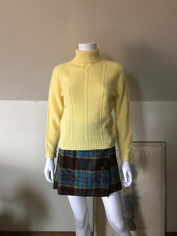 1960's Butter Yellow Cashmere Turtleneck by Harrod