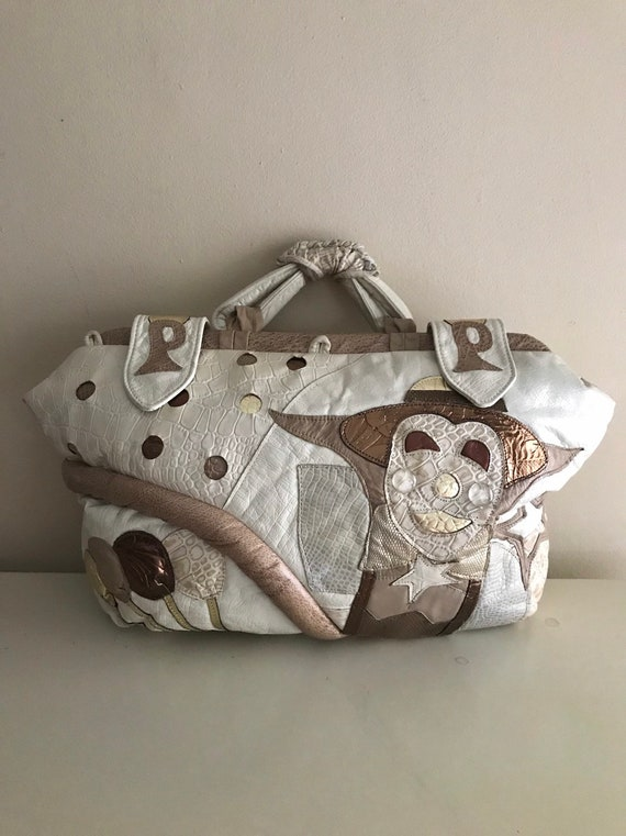 80's Patchwork Leather Clown & Balloons Bag
