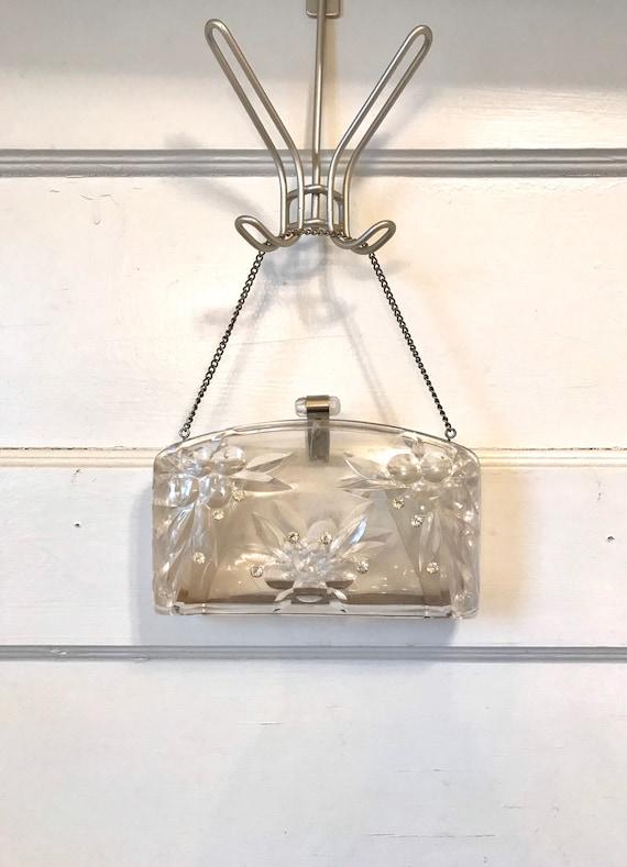 1950's Clear Carved Lucite & Rhinestone Handbag