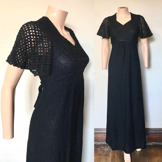 1970's Chenille Bell Sleeve Black Maxi Dress sz S