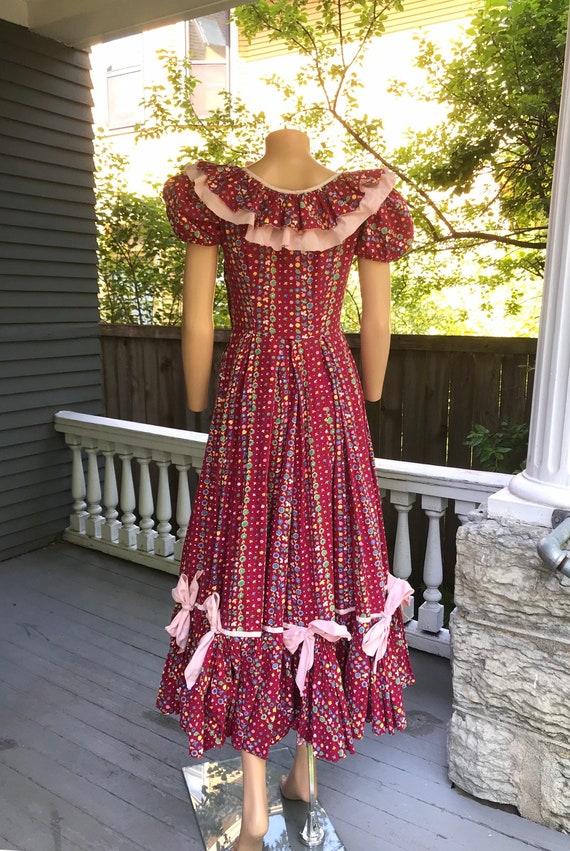 1940's Cotton Calico Hootenanny Dress sz S - image 6