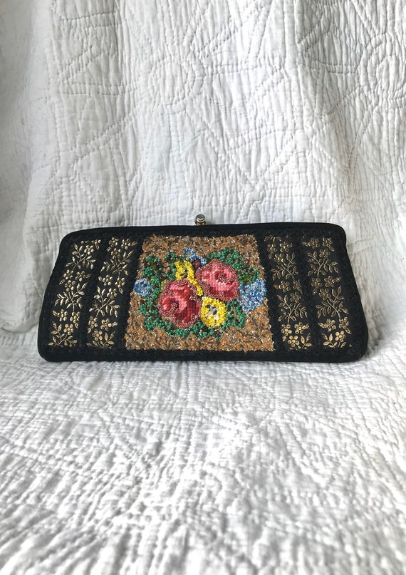 1960's Beaded & Embroidered Clutch Purse