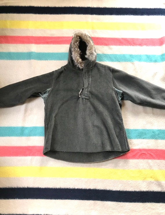 Rare 1940's WW2 Pull-over Parka Fur Lined Hood 19… - image 2