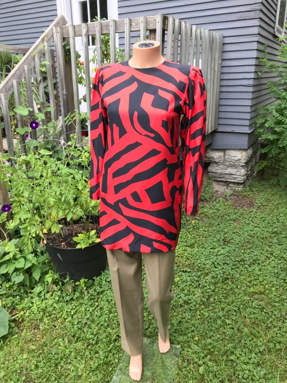80's Hanae Mori Silk Tunic Dress sz S