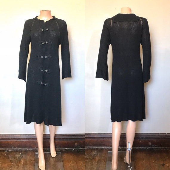 1920's Rayon Knit Sweater Coat sz S