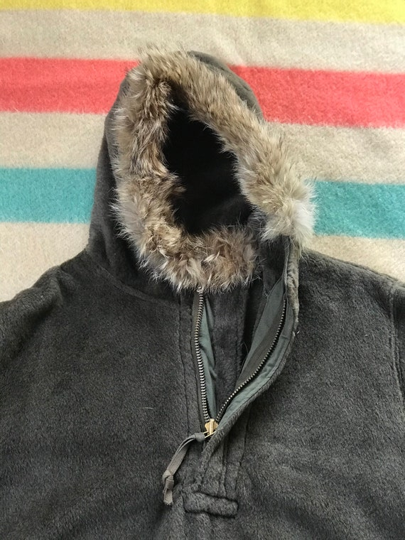 Rare 1940's WW2 Pull-over Parka Fur Lined Hood 19… - image 4