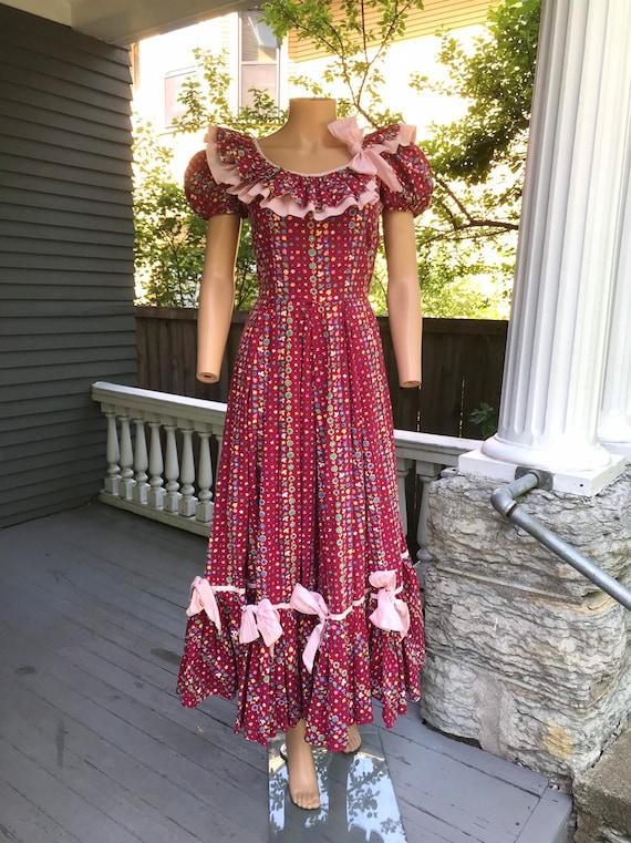 1940's Cotton Calico Hootenanny Dress sz S - image 4