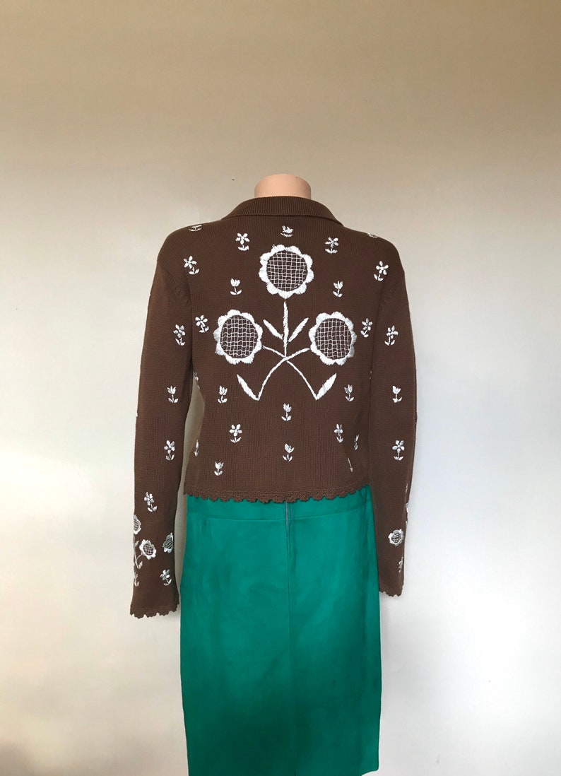 Moschino Cheap /& Chic Embroidered Cotton Knit Cardigan sz M