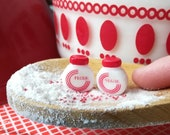Dollhouse miniature kitchen canister, shaker, Vitrock inspired retro red circle or tulip spice container jar, sugar and flour