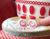 Dollhouse miniature kitchen canister set, shaker, Vitrock inspired retro red circle or tulip spice container jar, sugar and flour