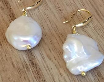 Keshi Pearl and Gold Vermeil Drop Earrings