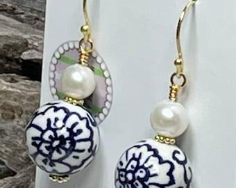 Pearl and Chinoiserie Porcelain Bead Drops