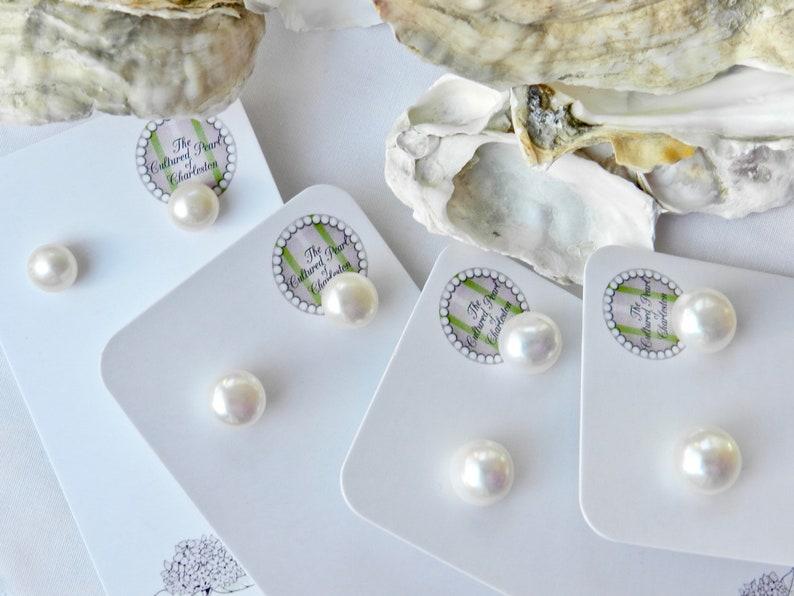 Classic Freshwater Pearl Stud Earrings Handmade In Charleston SC
