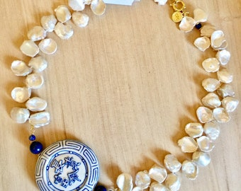 Pearls And Lapis With Blue And White Porcelain Pendant